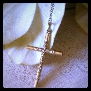 Vintage Etched Cross & 1/20 12KT Chain Necklace